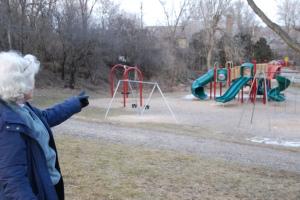 Sharon describing her work to help preserve open space in Ward 1 and create a playground in Schmanska Park.